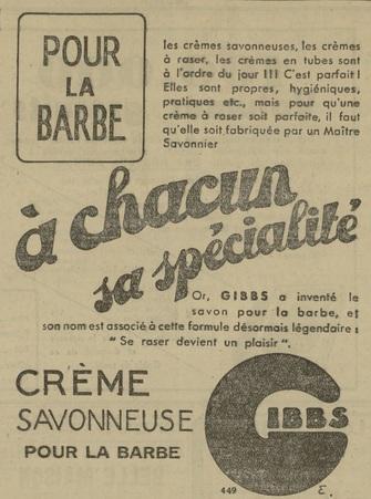 Crème savonneuse pour la barbe Gibbs