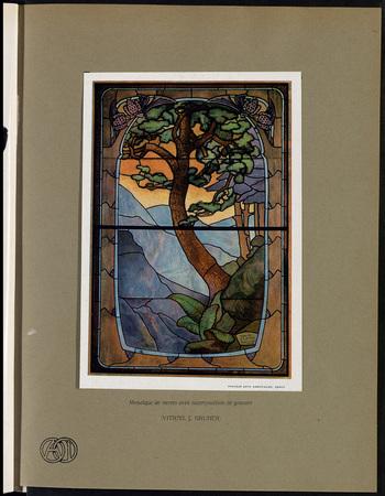 Mosaïque de verres avec superposition de gravure (vitrail J. Gruber)