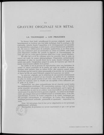 La gravure originale sur métal, la technique, les procédés