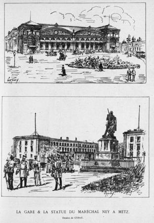 La gare & la statue du maréchal Ney à Metz