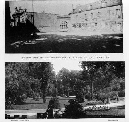 Les deux emplacements proposés pour la statue de Claude Gellée