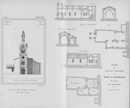 Plans de l'état actuel et du projet de restauration de l'église de Mousson