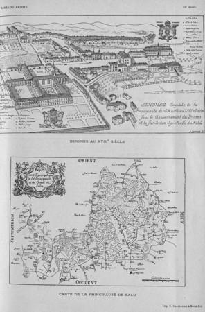 Senones au XVIIIe siècle. Carte de la principauté de Salm
