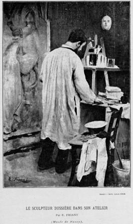 Le sculpteur Bussière dans son atelier