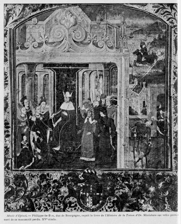 Philippe-le-Bon, duc de Bourgogne, reçoit le livre l'histoire de la Toison…