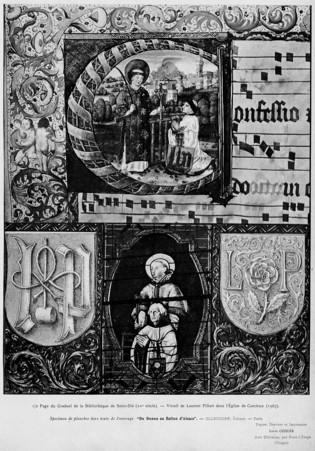1/2 page du graduel de la bibliothèque de Saint-Dié. Vitrail de Laurent Pi…