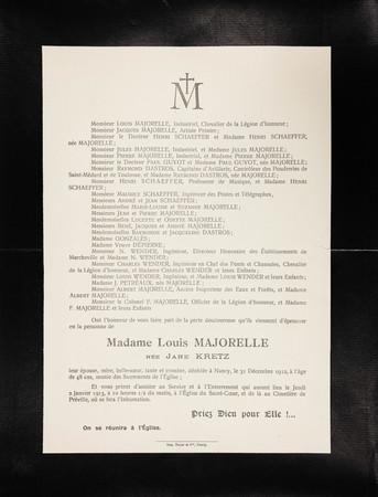 Faire part de décès de Madame Louis Majorelle née Jane Kretz