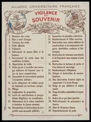 Alliance universitaire française. Vigilance et souvenir. Les trente crimes…