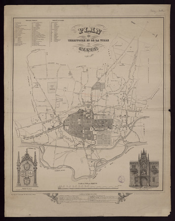 Plan du territoire et de la ville de Nancy 1857