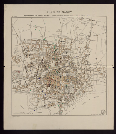 Plan de Nancy. Bombardement de Nancy 1914-1918