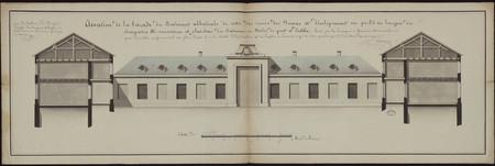 Élévation de la façade du bâtiment abbatiale du côté des cours des Dames e…