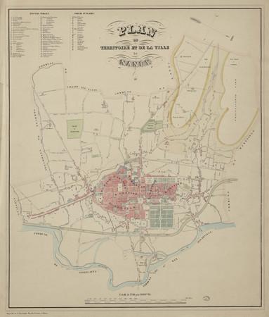 Plan du territoire et de la ville de Nancy 1845