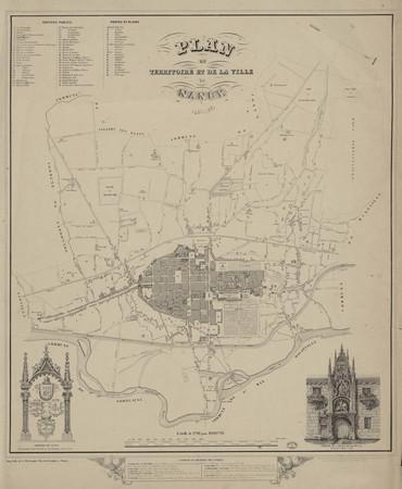 Plan du territoire et de la ville de Nancy 1850