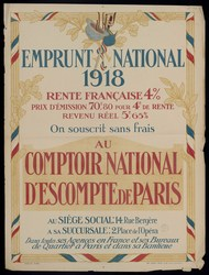 Emprunt national 1918. On souscrit sans frais au comptoir national d'escom…