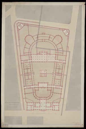 Plan des fondations, des caves et des canaux [pour le projet de constructi…