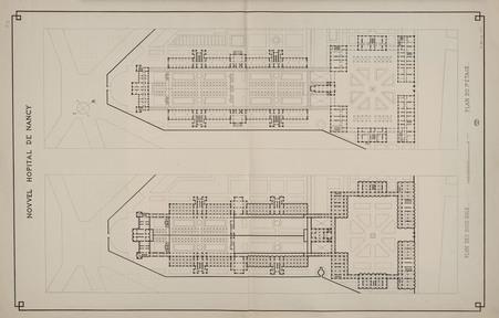 Nouvel hôpital de Nancy. Plan des sous-sols. Plan de 1er étage