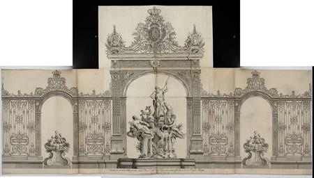 Dessein des grandes grilles posées sur la place royale de Nancy en 1755 pa…