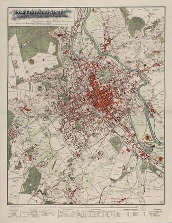 Plan général de Nancy et de l'agglomération nancéienne