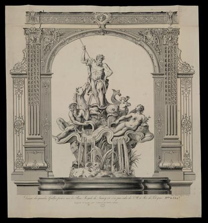 Dessin des grandes grilles posées sur la place royale de Nancy en 1755 par…