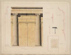 Maison Avelino. Décoration du mur de la cour à portiques