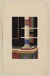 Vue d'une peinture murale et d'une colonne peinte