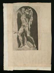[Sculpture antique d'un homme portant une corps sur son épaule]