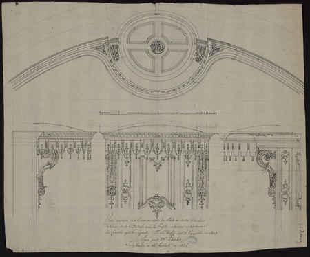 Plan renversé du couronnement du stale au centre circulaire du cœur de la …