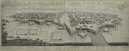 Plan perspectif de la ville ducalle de Nancy, capitalle du duché de Lorrai…