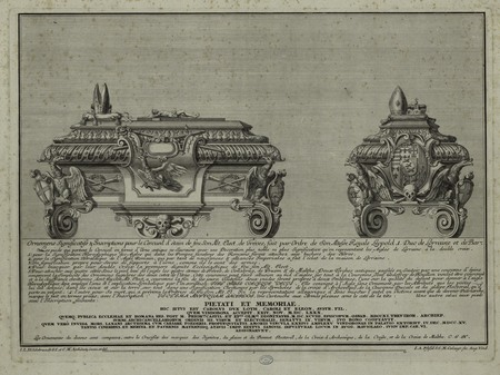Ornements significatifs et inscriptions pour le cercueil d'étain de feu so…
