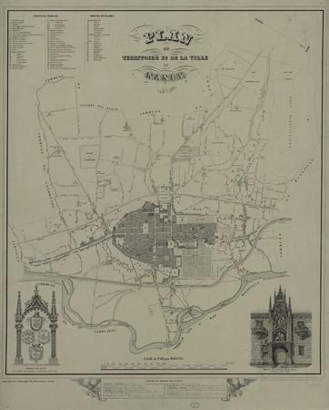Plan du territoire et de la ville de Nancy. 1850