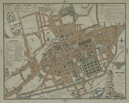 Nancy-Guide. Nouveau plan par sections avec itinéraire pour visiter la vil…