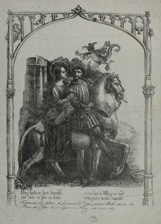 Fragment d'un tableau de Léonard de Vinci peint à l'huile sur un des murs …