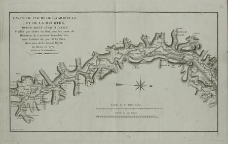 Carte du cours de la Mozelle et de la Meurthe. Depuis Metz jusqu'à Nancy