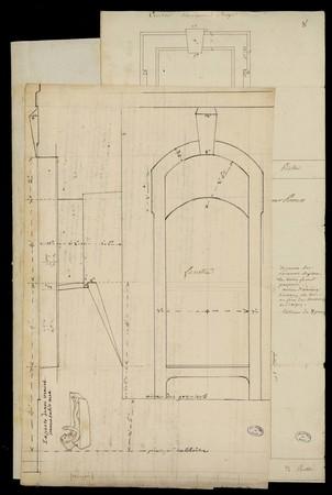 Plan d'une fenêtre, avec mention de grenier et de cloître