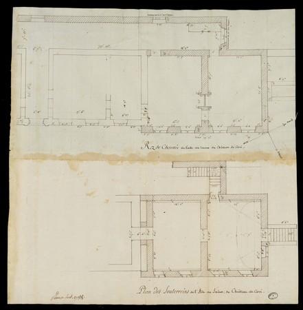 Rez de chaussée et plan des souterrains de l'aile au levant du château de …