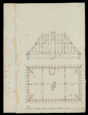 Plan du Comble de l'aile au Couchant, du Château de Cirei