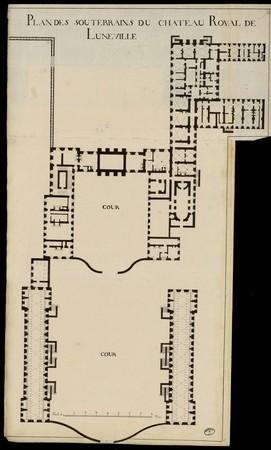 Plan des souterrains du château royal de Lunéville