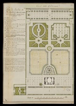 Plan du jardin de M. De Vaux aux petits bosquets à Lunéville