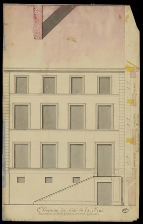Élévation du côté de la rue d'une maison projetée à Senones pour M. Lejeune