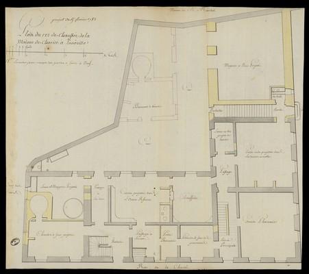 Plan du rez de chaussée de la maison de charité à Lunéville