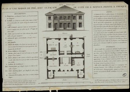 Plan d'une maison de Pisé, avec sa façade du côté de l'avenue, peinte à fr…