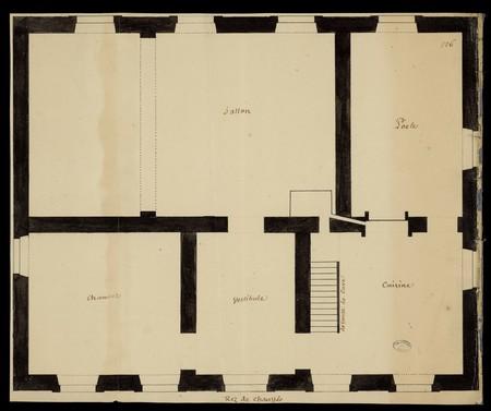 Plan d'une maison, rez de chaussée.