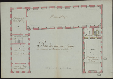 Plan du premier étage du batiment de l'université de Nancy