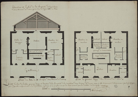 Plan du rez de chaussée, premier étage et élévation de la charpente de la …