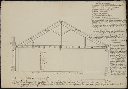 Profil en largeur et élévation de la charpente de couverture du bâtiment a…