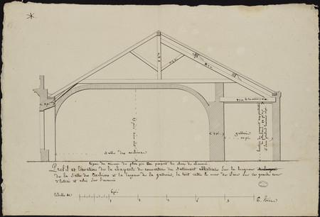 Profil et élévation de la charpente de couverture du bâtiment abbatiale su…