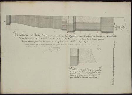Élévation et profil du couronnement de la grande porte d'entrée du bâtimen…