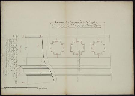 Élévation et profil de la corniche avec son attique au dessus de la façade…