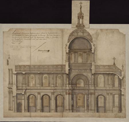 Coupe longitudinale de la cathédrale du projet de Mansart.