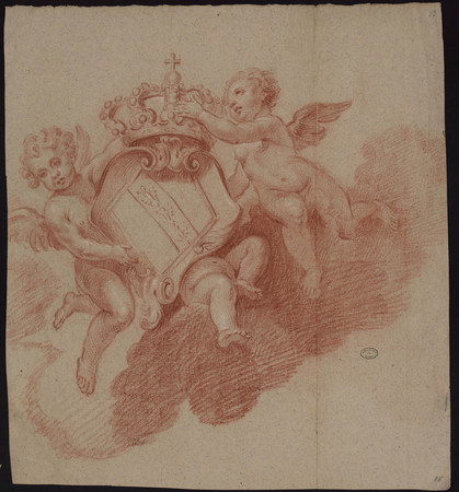 Représentation de deux anges sur un nuage tenant une couronne et les armoi…